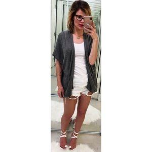 Zara Gray Short Sleeve Cardigan